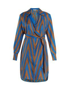 Diane Von Furstenberg | Odeon Chevron-Print Silk Satin-Twill Shirtdress