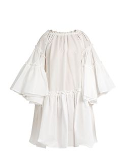MSGM | Off-The-Shoulder Seersucker Dress