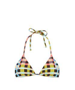 Mara Hoffman | Plaid Mustard-Print Halterneck Bikini Top