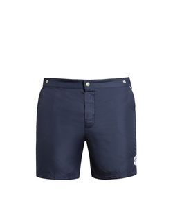 Robinson Les Bains | Oxford Long Logo-Patch Swim Shorts