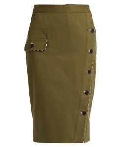 Altuzarra | Curry Asymmetric-Front Cotton-Drill Skirt