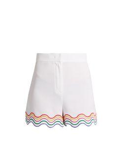 Sara Battaglia   Wave-Embroidered Stretch-Cady Shorts