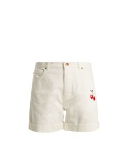 BLISS AND MISCHIEF | Cherry-Embroidered High-Rise Denim Shorts
