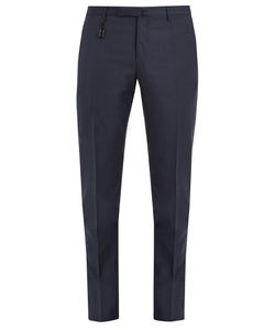 Incotex   Mid-Rise Slim-Leg Sharkskin-Wool Trousers