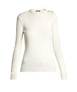 Balmain | Button-Shoulder Crew-Neck Sweater