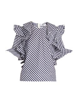 MSGM | Ruffle-Trimmed Striped Cotton Top