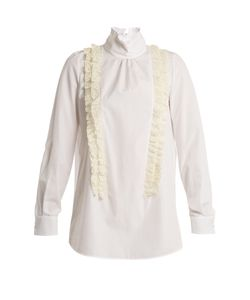 No. 21 | Ruffle-Trimmed High-Neck Cotton-Poplin Blouse
