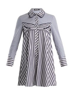 House Of Holland | Contrast-Striped Point-Collar Cotton Shirtdress