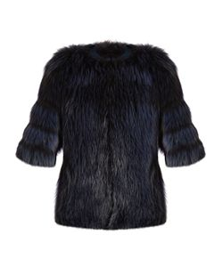 By. Bonnie Young | Collarless Fur Jacket