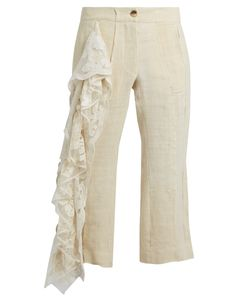 BY WALID | 19th-Century Lace-Panel Linen Cropped Trousers
