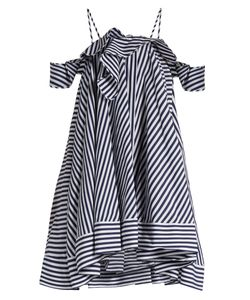 MSGM | Open-Shoulder Striped Cotton Dress