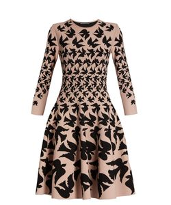 Alexander McQueen | Doves-Intarsia Flared-Skirt Dress