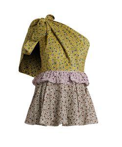 ANNA OCTOBER | Contrast-Print One-Shoulder Cotton Top