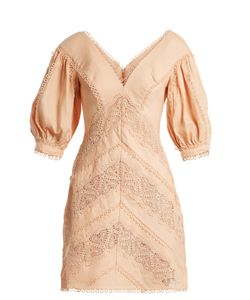 Zimmermann | Painted Heart Lace-Panel Linen Dress