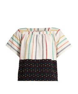 ACE & JIG | Vista Square-Neck Embroidered-Stripe Cotton Top