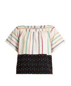 ACE & JIG | Vista Square-Neck Embroidered-Stripe Cotton Top