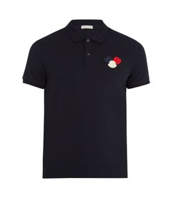 Moncler | Felt-Appliqué Cotton-Piqué Polo Shirt