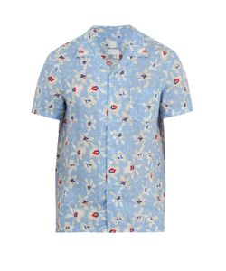 120% Lino | -Print Short-Sleeved Linen Shirt