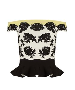 Alexander McQueen | Rose-Intarsia Off-The-Shoulder Peplum Top