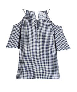 Velvet by Graham & Spencer | Nedra Cut-Out Shoulder Gingham Top