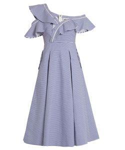SELF-PORTRAIT | One-Shoulder Striped Cotton Dress