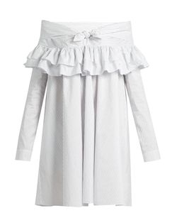 Isa Arfen | Knot-Front Ruffled Cotton-Blend Dress