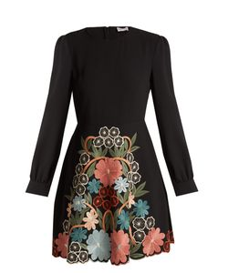 Red Valentino | Macramé-Embroidered Crepe Dress