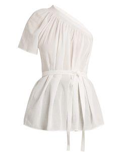 Helmut Lang   One-Shoulder Cotton-Gauze Top