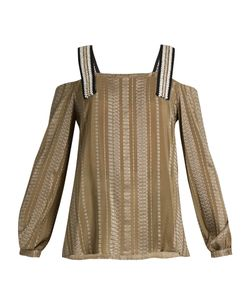 ZEUS + DIONE | Lysia Geometric-Jacquard Silk-Blend Top