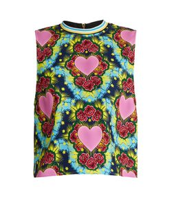 House Of Holland | Sleeveless Heart-Print Crepe Top