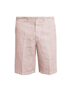 120% Lino | Mid-Rise Slim-Leg Striped Linen Shorts