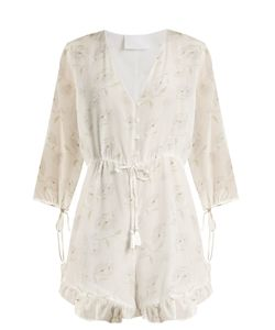 Athena Procopiou | Romance In The Wind Silk-Crepe Playsuit