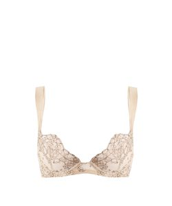 COCO DE MER | Angelique Embroidered-Tulle Plunge Bra