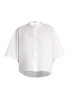 Acne | Bridget Collarless Cotton-Poplin Cropped Shirt