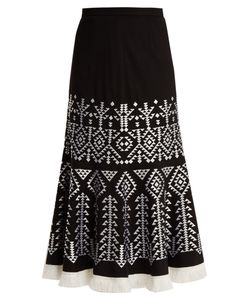 Andrew Gn | Aztec-Embroidered Wool-Blend Midi Skirt