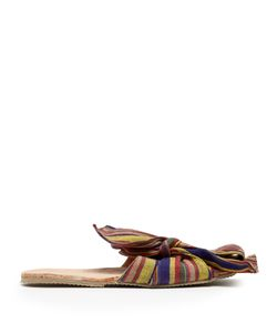 BROTHER VELLIES | Burkina Striped-Bow Leather Slides