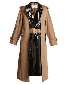Toga | Pleat-Front Contrast-Panel Belted Trench Coat
