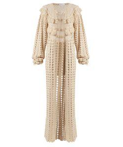 RYAN ROCHE | Open-Front Cashmere Crochet-Knit Long Cardigan