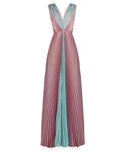 Luisa Beccaria | V-Neck Pleated Chiffon Dress