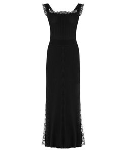 Adam Lippes | Lace-Trimmed Square-Neck Ribbed-Knit Midi Dress
