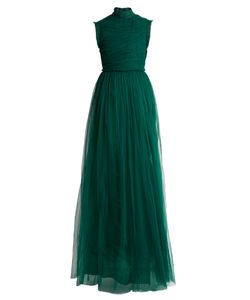 Rochas | Open-Back Ruched Tulle Gown