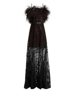 Elie Saab | Feather-Trimmed Embroidered Strapless Tulle Gown
