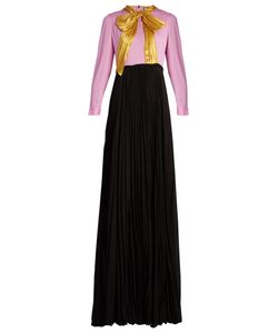 Gucci | Ruched-Bow Pleated-Skirt Silk-Georgette Gown