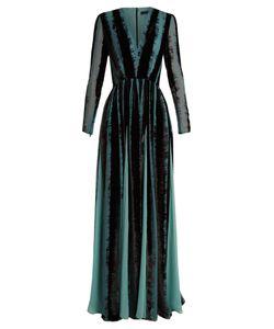 Elie Saab | V-Neck Velvet-Devoré Gown