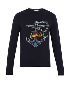 Valentino | Anchor-Intarsia Wool And Cashmere-Blend Sweater