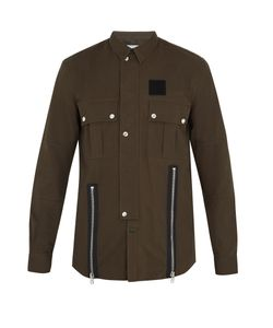 Givenchy | Cuban-Fit Zip-Detail Brushed-Cotton Overshirt