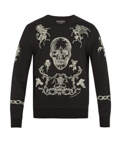 Alexander McQueen | Embroidered Skull And Rose Cotton Sweatshirt
