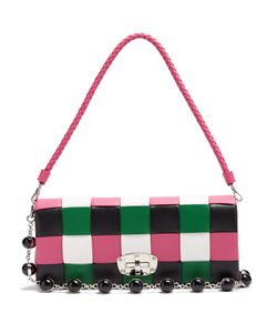 Miu Miu | Patchwork Woven-Leather Shoulder Bag