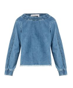 See By Chloe | Frayed-Hem Long-Sleeved Top