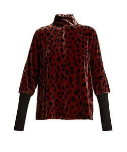 Tibi | Cheetah-Print Velvet Top